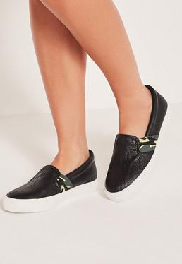 Camo Elastic Slip On Skater Pumps Black