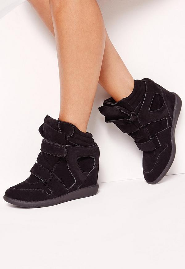 Wedge Velcro Strap High Top Trainers Black