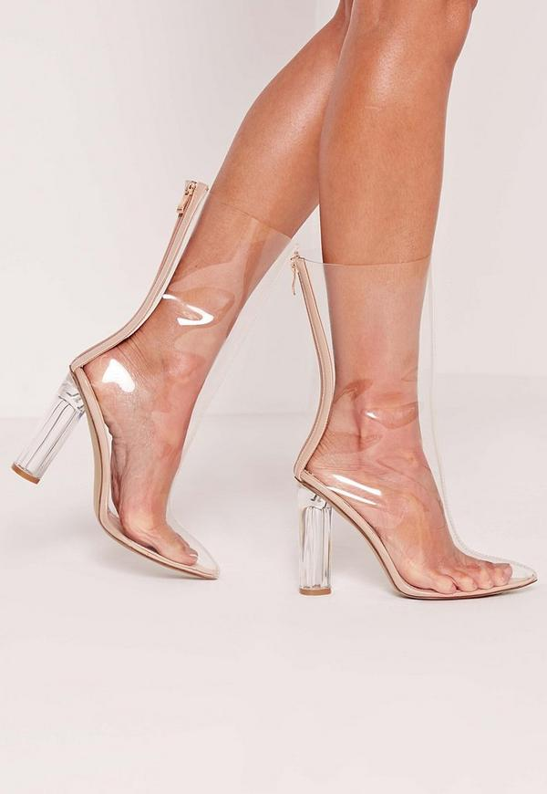 Perspex Ankle Boot Nude
