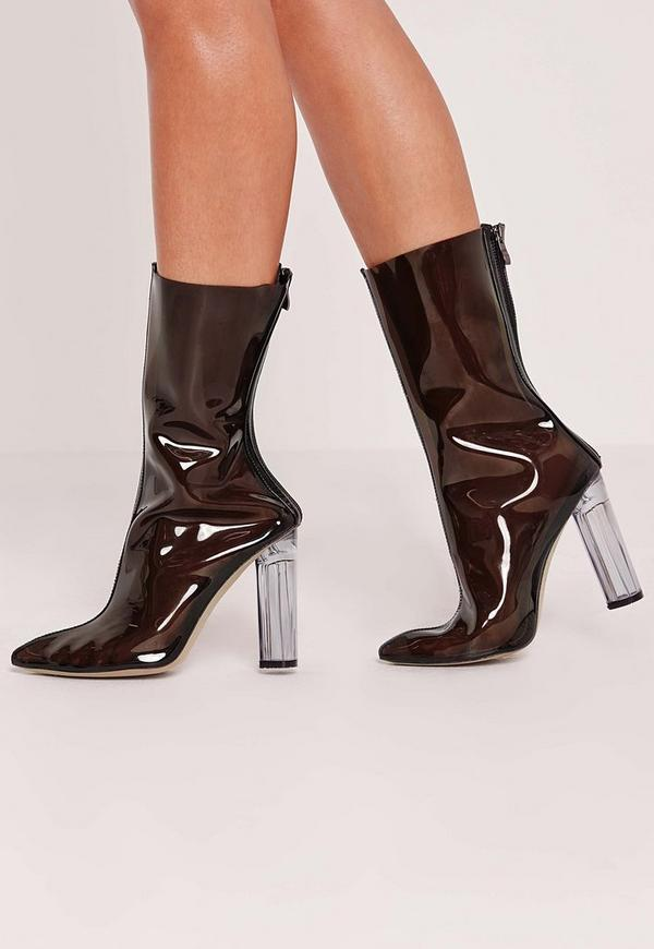 Perspex Ankle Boot Black