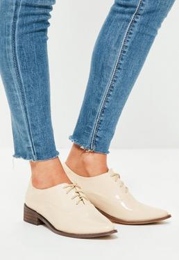 Chaussures richelieu nudes à lacets