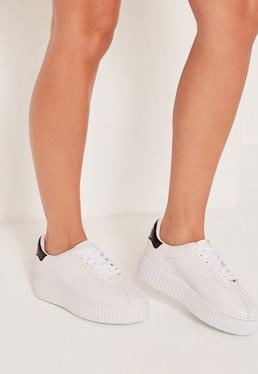 White Outsole Flatform Trainers