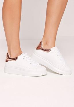 Flatform-Sneaker mit Schnürung in Roségold