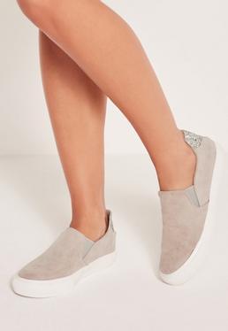 Grey Glitter Tab Slip On Skater Sneakers