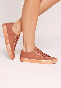 Rose Gold Metallic Outsole Sneakers