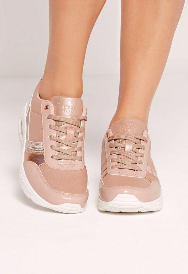 Snake Insert Lace Up Trainers Nude