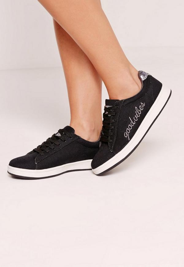 Good Vibes Embroidered Lace Up Glitter Tab Trainers Black