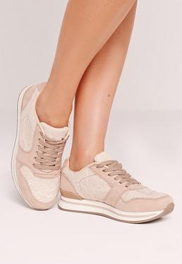 Nude Lace Insert Sneakers