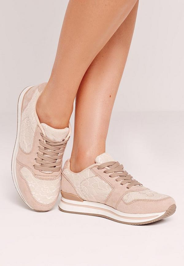 Nude Lace Insert Trainers