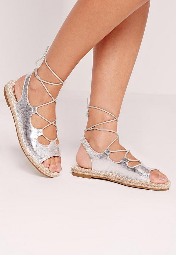 Metalic Lace Up Espadrilles Silver