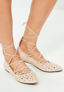 Studded Toe Detail Lace Up Flats Nude