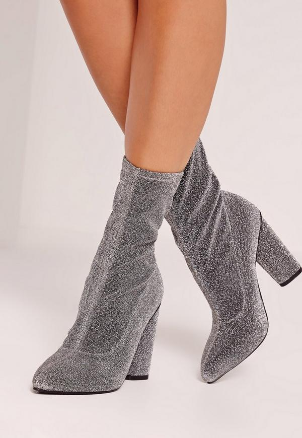 Glitter Sock Boots Silver Missguided