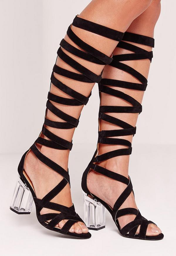 Perspex Heel Knee High Strappy Gladiators Black