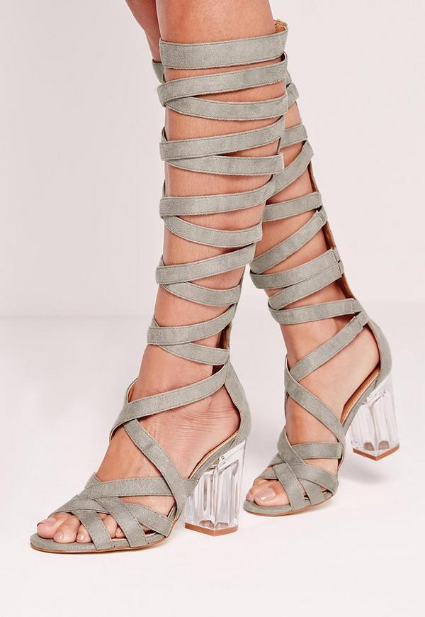 Perspex Heel Knee High Strappy Gladiators Grey