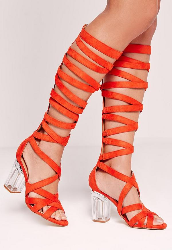 Perspex Heel Knee High Strappy Gladiators Orange
