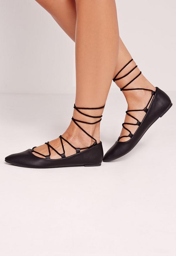 Lace Up Flat Shoe Black