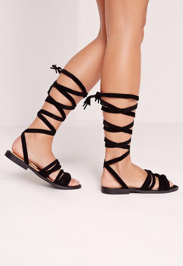 Thick Strap Flat Wrap Around Sandal Black