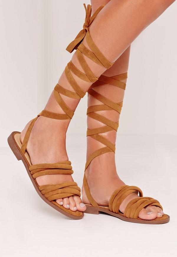 Thick Strap Flat Wrap Around Sandals Tan