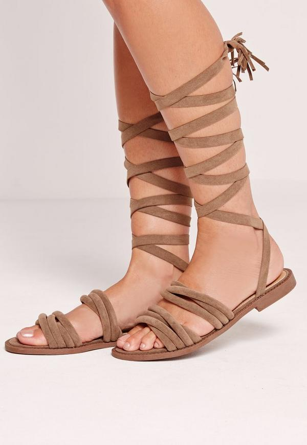Thick Strap Flat Wrap Around Sandal Brown