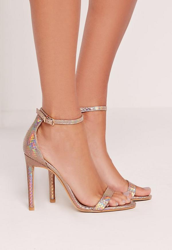 Barely There Heeled Sandal Holographic