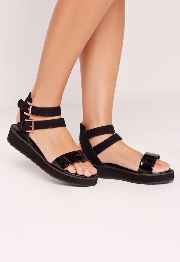Cleated Flat Sandal Black