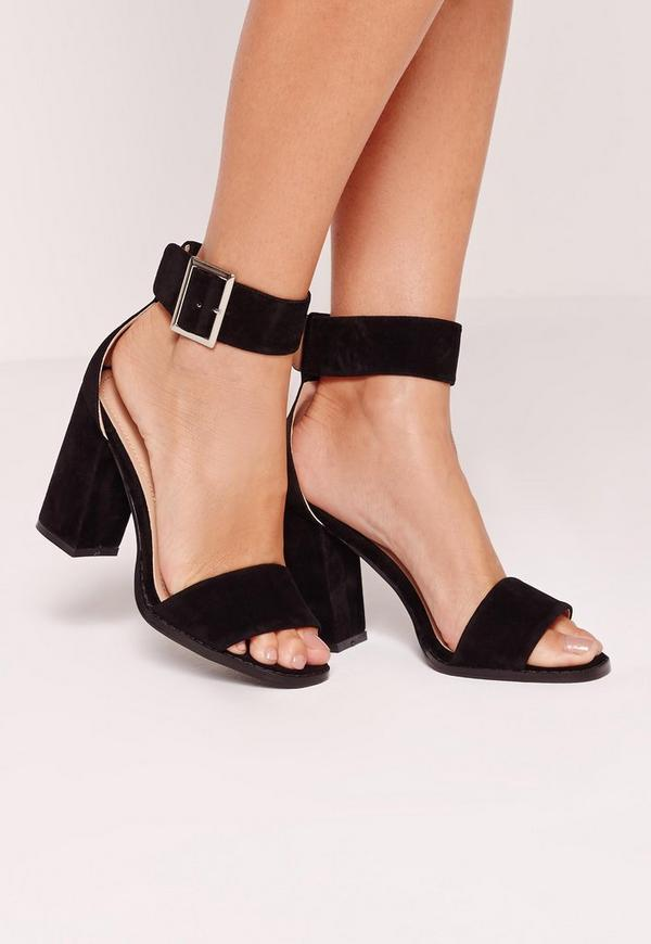 Flared Block Heel Sandal Black