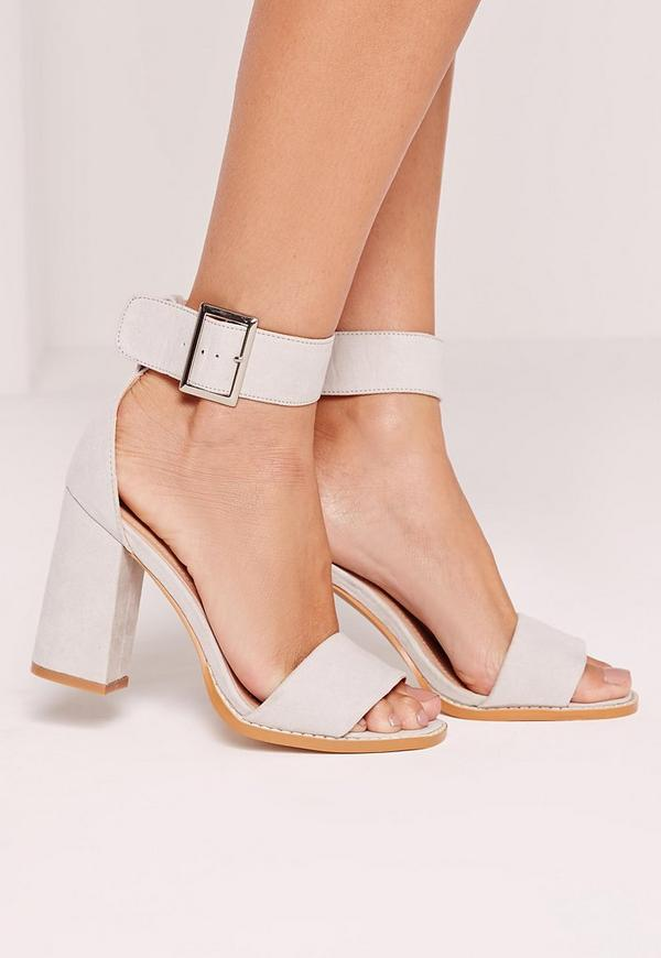 Flared Block Heel Sandal Grey