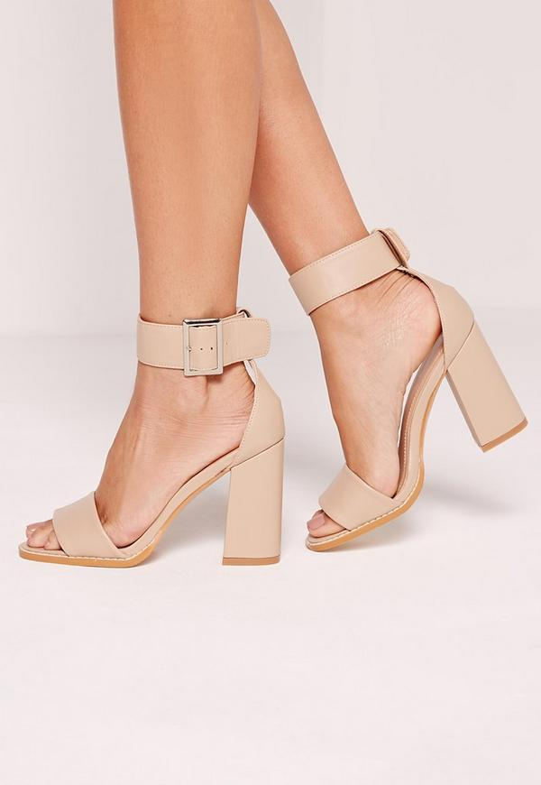 Flared Block Heel Sandal Nude | Missguided Australia