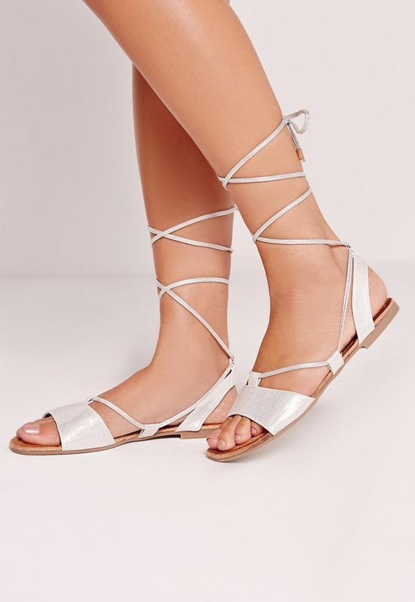 Flat Lace Up Sandal Silver