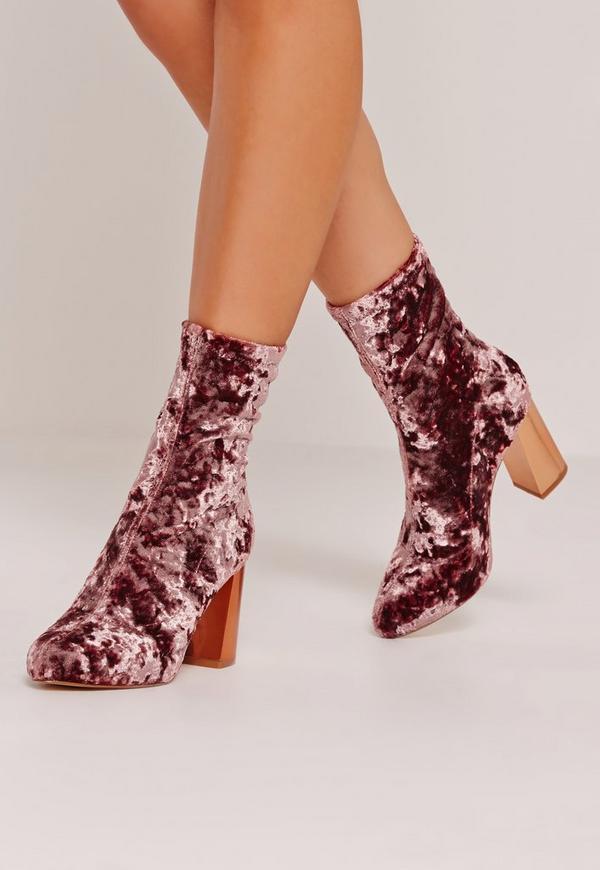 Crushed Velvet Block Heeled Boots Pink