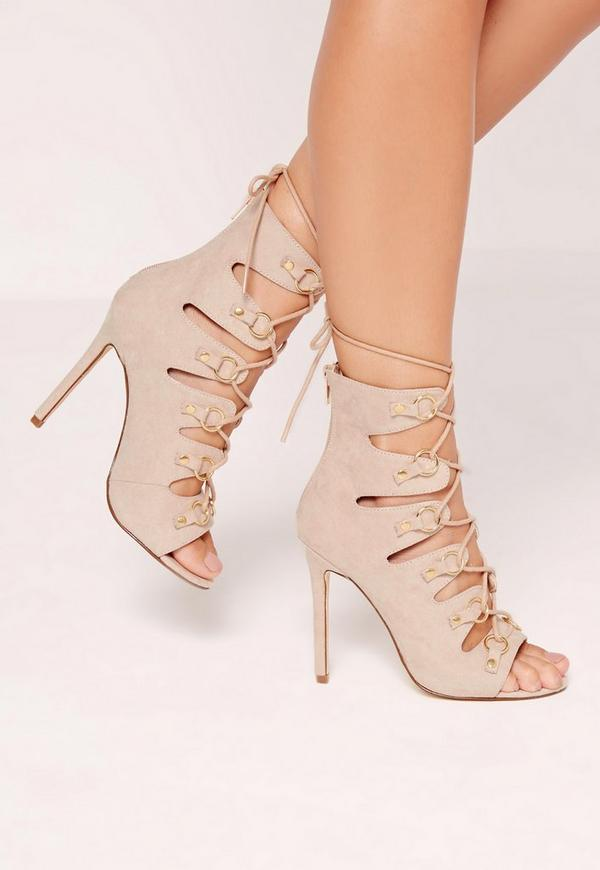 D Ring Detail Gladiator Heels Nude