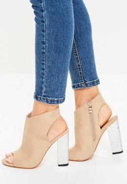Crushed Silver Heel Peep Toe Block Heel Boots Nude