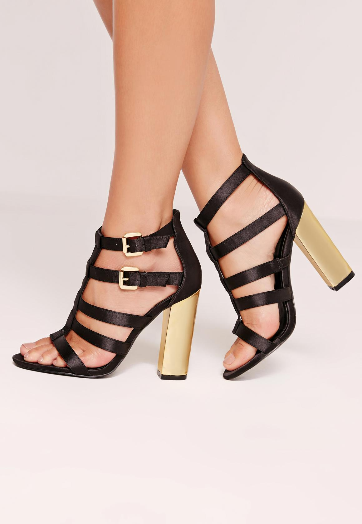 Crushed Heel Satin Gladiator Block Heels Black
