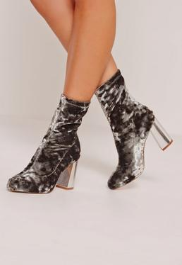 Crushed Velvet Block Heeled Boots Grey