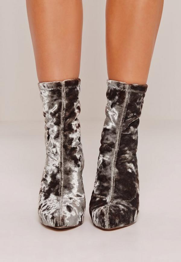 crushed velvet boots