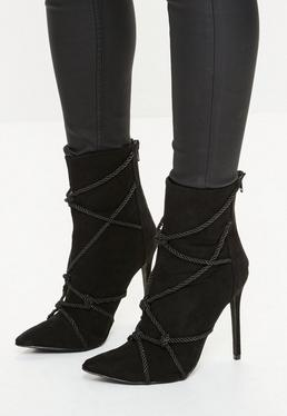 Black Faux Suede Rope Detail Heeled Ankle Boots