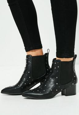 Studded Elastic Gusset Ankle Boots Black