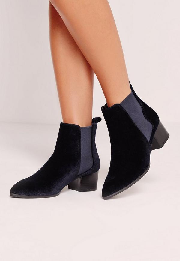 Velvet Pointed Toe Ankle Boots Navy
