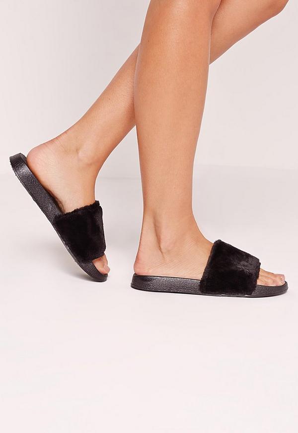 Faux Fur Sliders Black