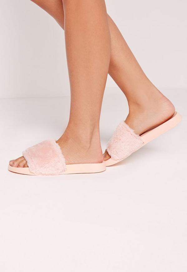 Faux Fur Sliders Pink
