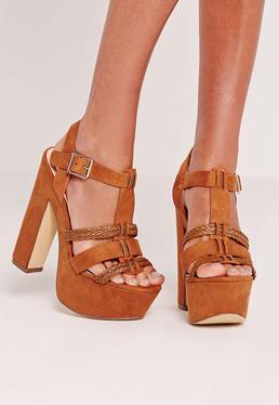 Pleated Strap Platforms Tan