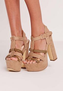 Sandales à plateforme grises tressées