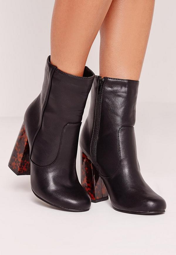 tortoise block heel faux leather ankle boots black