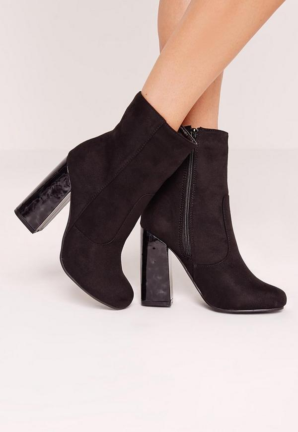black faux suede tortoise block heel ankle boots missguided