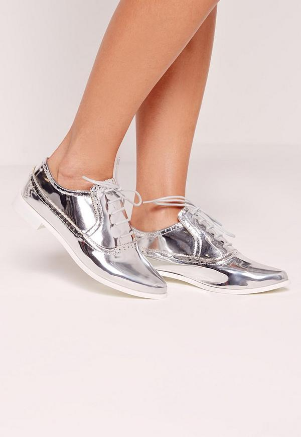 Metallic Brogues Silver