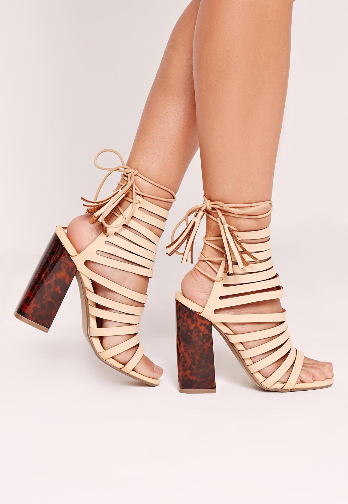Tortoise Block Heel Strappy Sandals Nude | Missguided