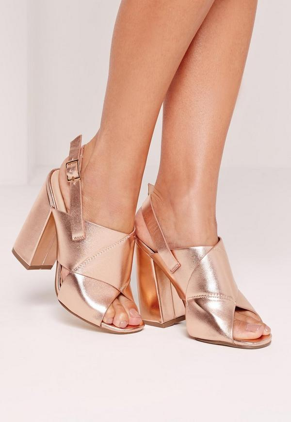 Cross Strap Block Heeled Sandals Rose Gold