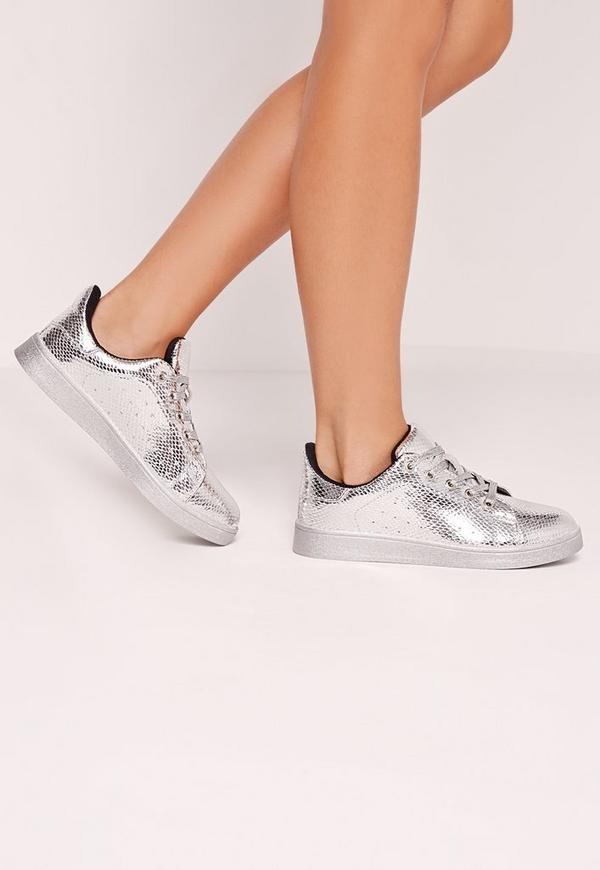 Metallic Tennis Trainers Silver