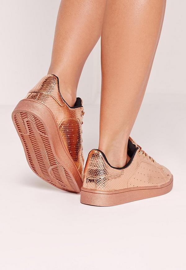metallic tennis trainers rose gold missguided. Black Bedroom Furniture Sets. Home Design Ideas