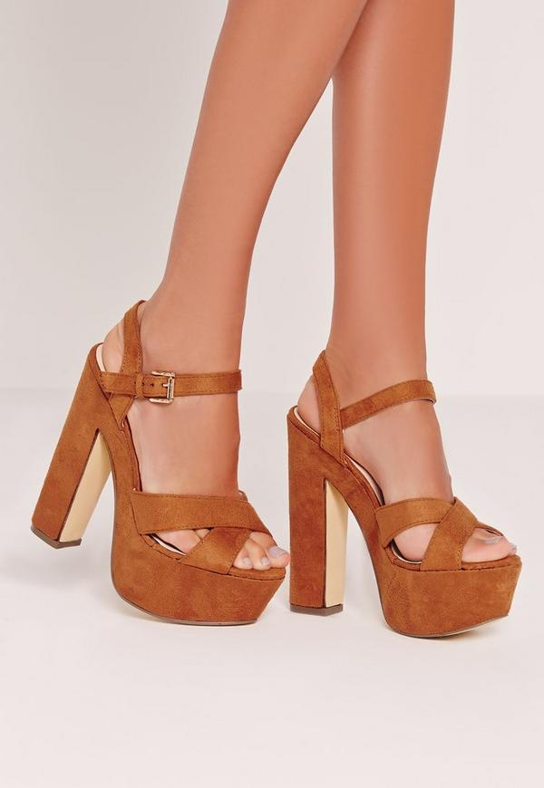Cross Strap Platforms Tan